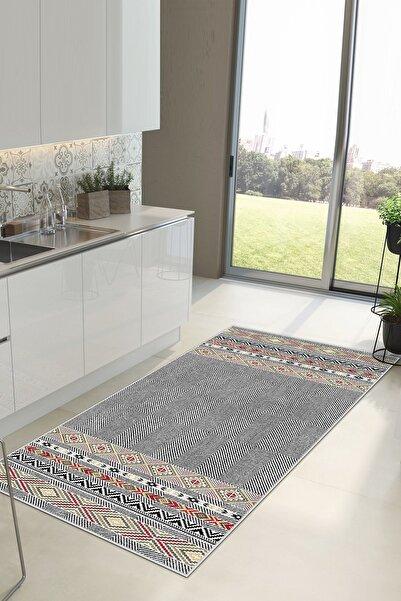 Blue Carpet Dijital Baskı Yıkanabilir Kaymaz Taban Mutfak Halısı