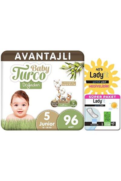 Baby Turco Doğadan Avantajlı Paket Bebek Bezi 5 Numara Junior 96 Adet + Günlük Ped