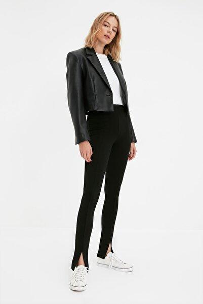 TRENDYOLMİLLA Siyah Yırtmaç Detaylı Örme Tall Pantolon TWOAW22PL0323