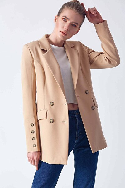 Robin Kadın Düğme Detaylı Ceket Camel