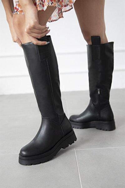 STRASWANS Kadın Fermuar Detay Deri Çizme Siyah