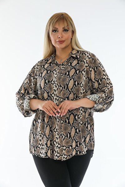 Eceyaman moda Kadın Kahverengi Siyah Uzun Kollu Gömlek
