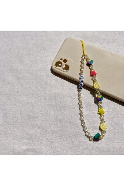 AYSS STUDİO Renkli Love Desenli Telefon Charmı, Telefon Askı Modeli
