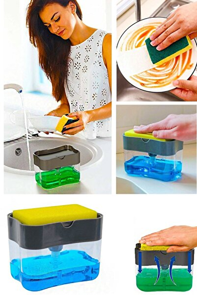 İNCİ COLLECTİON Pompa Mekanizmalı Sünger Hazneli Sıvı Sabunluk Deterjanlık Ve Bulaşık Süngeri