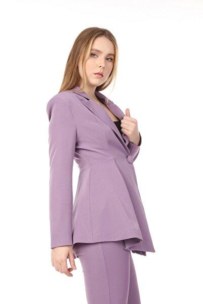 Yare Kadın Yandan Katlamalı Uzun Kol Kruvaze Yaka Omuzları Vatkalı Ceket