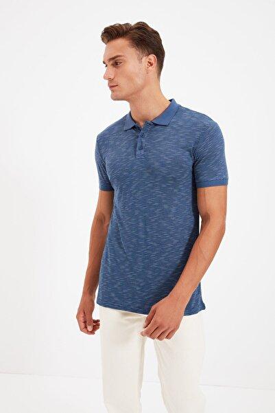 Koton Erkek Indigo Çizgili T-Shirt 1YAM12012LK