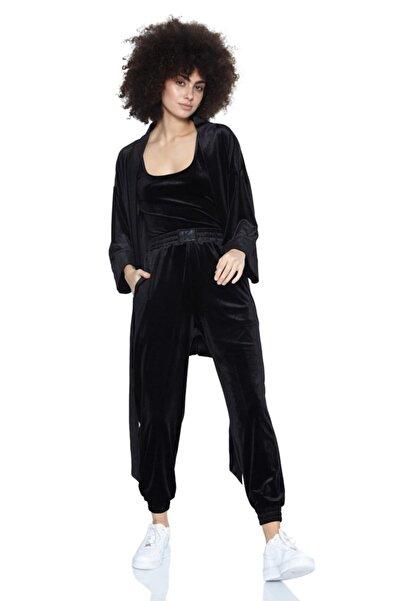 Keikei Siyah Kadife Uzun Kol Kısa Jacket