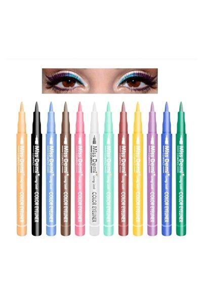 Tikatti 12 Renk Pen Eyeliner Seti