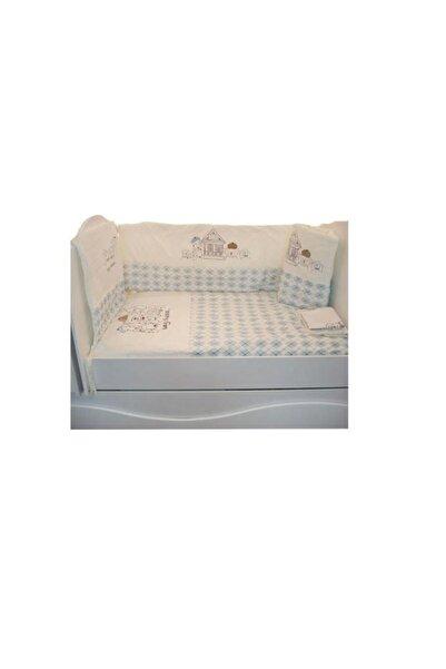 Aziz Bebe Mobilya Beşik Uyku Seti Mavi 8 Parça