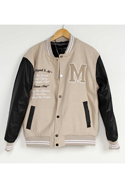 İnan Store Erkek Bej Deri Kol Nakışlı Kolej Ceket