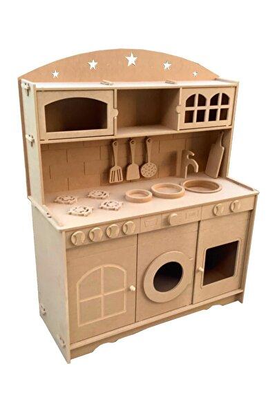 Hedef Ahşap Ahşap Çocuk Büyük Boy Oyuncak Mutfak Seti + 2 Adet Led Aydınlatma