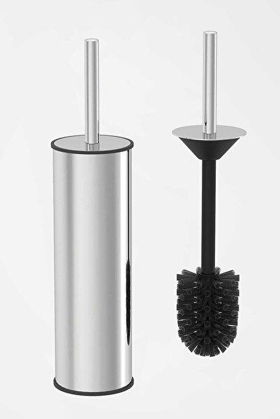 vipgross Paslanmaz Krom Wc Klozet Fırçası Gümüş Akıllı Kapak Tuvalet Fırçası