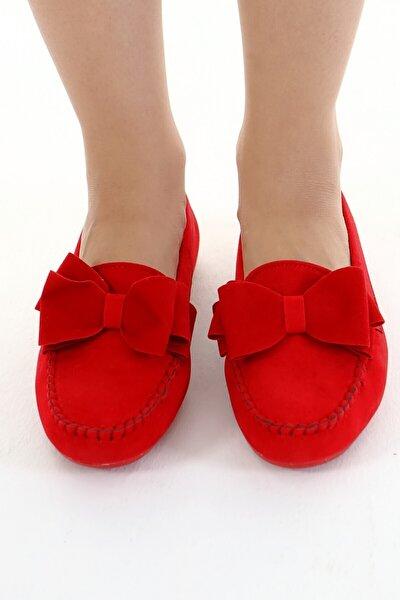 Beyond Kırmızı Fiyonklu Kadın Günlük Casual Sneaker Babet Ayakkabı Byndmot02