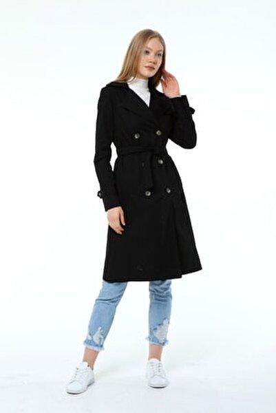 Kadın Yazlık Uzun Trençkot Siyah