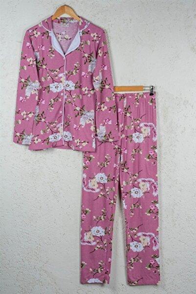 BSM Kadın Gül Kurusu Pamuklu Çiçekli Düğmeli Gömlek Pijama Takımı