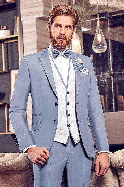 Modaviki Erkek Slim Fit Takım Damatlık Elbise Mavi Mnz1613