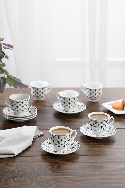 English Home Ilda Porselen 6'lı Kahve Fincan Takımı 90 ml Siyah