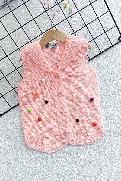 Babymod Renkli Ponponlu Örgü Kız Bebek Yelek