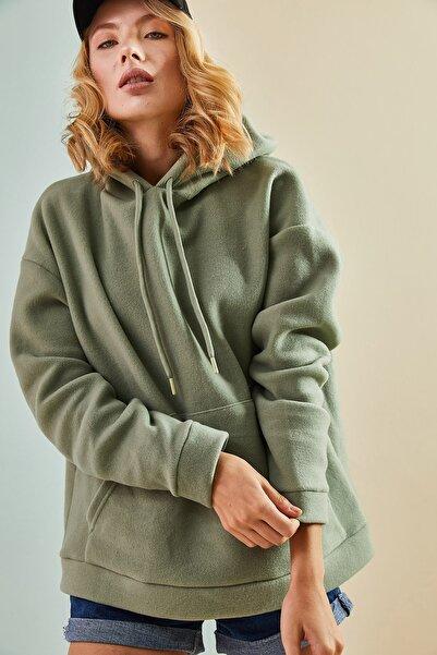 Bianco Lucci Bianco Luccı Kadın Kapüşonlu Kanguru Cepli Peluş Sweatshirt