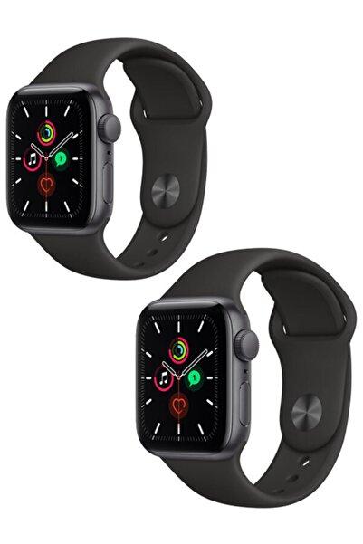 Apple Watch Nike Serisi 38 - 40 mm Klasik Spor Silikon Kordon 2'li Siyah Set