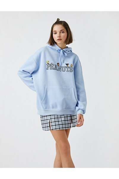 Koton Peanuts Lisanslı Baskilli Kapüsonlu Cepli Oversize Sweatshirt
