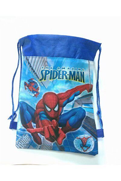KorseShop Spider Man Çocuk Spor Anaokul Okul Market Çantası Bez Çanta 36x28 Cm