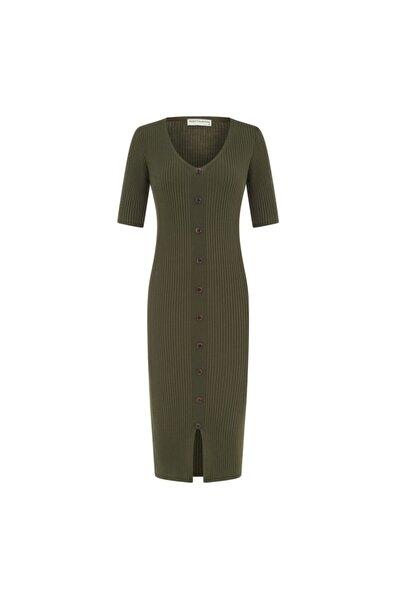 Mudo Düğme Detaylı Maxi Elbise