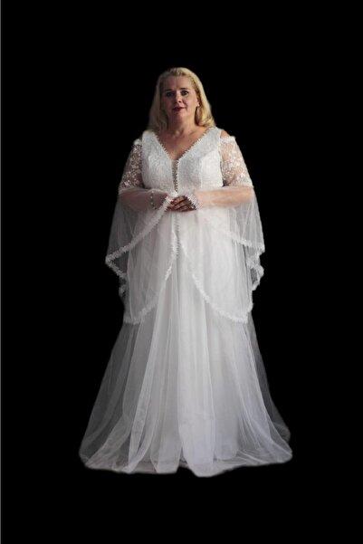 Truva XXL Kadın Giyim Abiye Beyaz