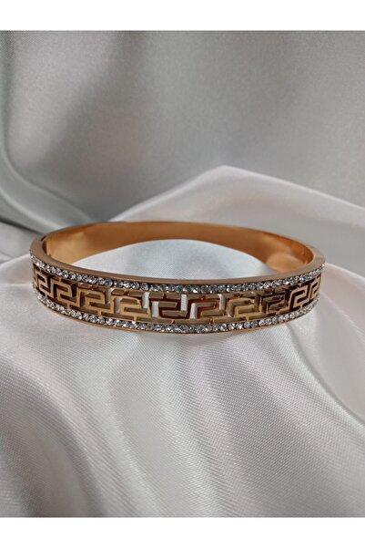 XUPING JEWELRY Çelik Taş Motifli Kelepçe Gold Rose Kararmaz