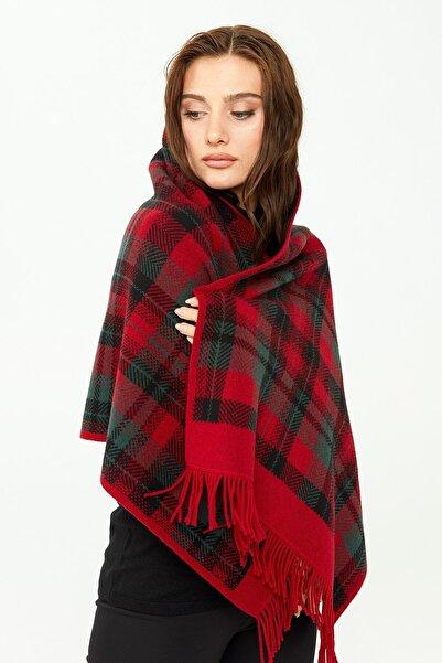 Desen Triko Kadın Üç Renkli Şal Koyu Kırmızı