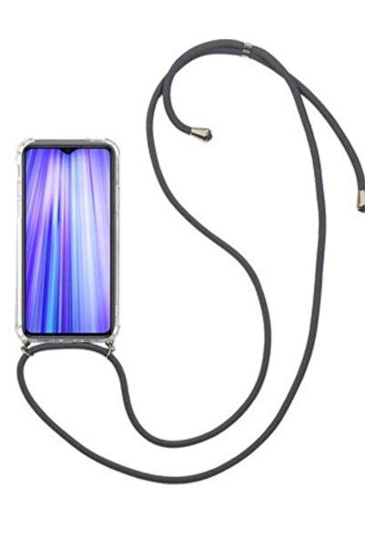 Tria Samsung Galaxy A50 Boyundan Askılı Ipli Şeffaf Darbe Emici Silikon Telefon Kılıfı Siyah