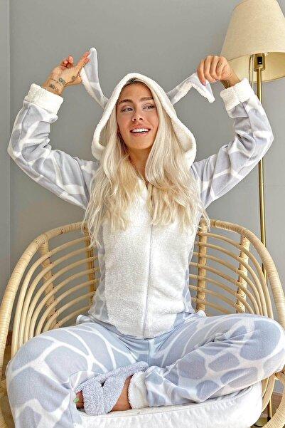 Pijamaevi Gri Dalmaçyalı Desenli Polar Peluş Tulum Kadın Pijama