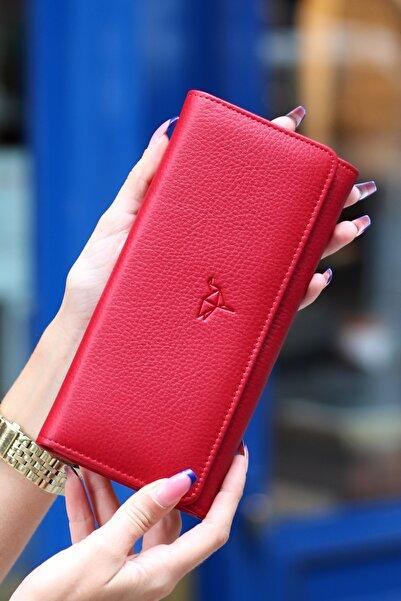 Garbalia Kadın Kırmızı Angel Hakiki Deri Cep Telefonu Bölmeli Cüzdanı