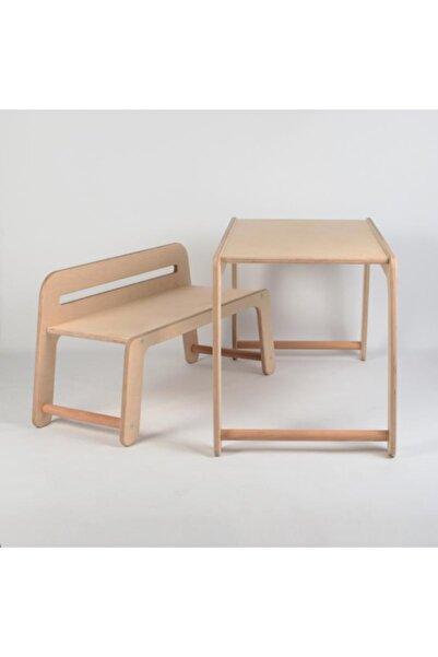DekorasyonLazer Bebek/çocuk Ahşap Huş Ağacı Aktivite Masa Ve Sandalyesi