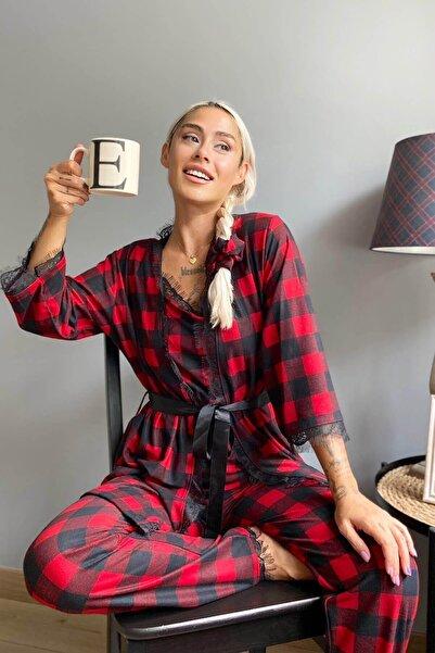 Pijamaevi Kırmızı Kare Baskılı Sabahlıklı Kadife Pijama Takımı