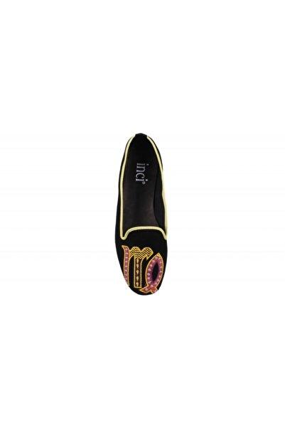 İnci Başak Burcu Siyah Süet Slipper Ayakkabı