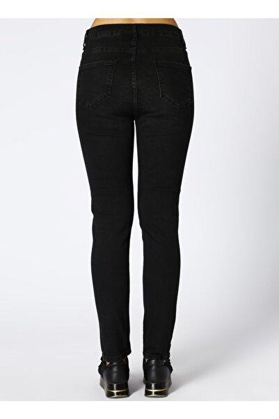 T-Box Kadın Normal Bey Denim Siyah Denim Pantolon