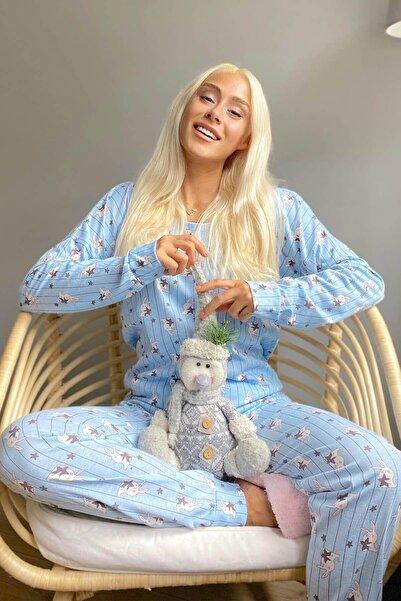 Pijamaevi Mavi Star Rabbit Baskılı Uzun Kol Kadın Pijama Takımı