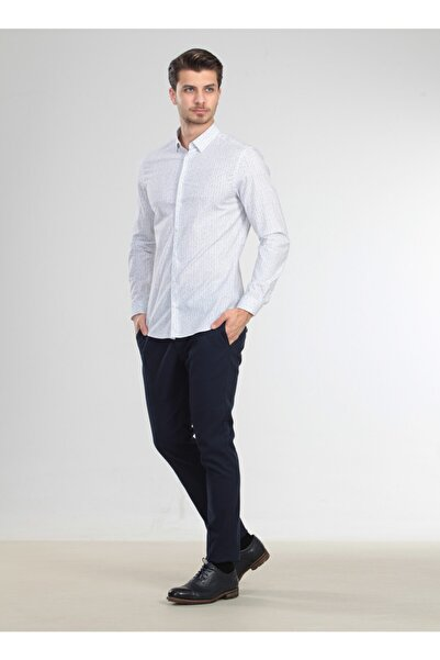 Kip Slim Fit Baskılı Haki Gömlek