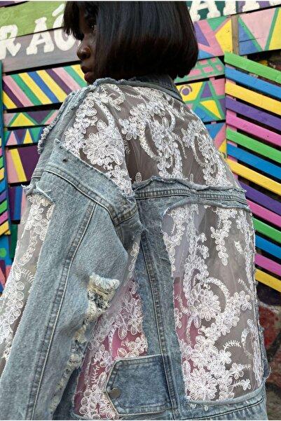 VorNişantaşı Kadın Özel Tasarım Vintage Dantelli Kot Ceket