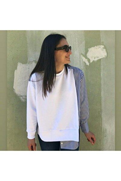 Flow Kadın Sweatshirt Beyaz Kuaş Garnili