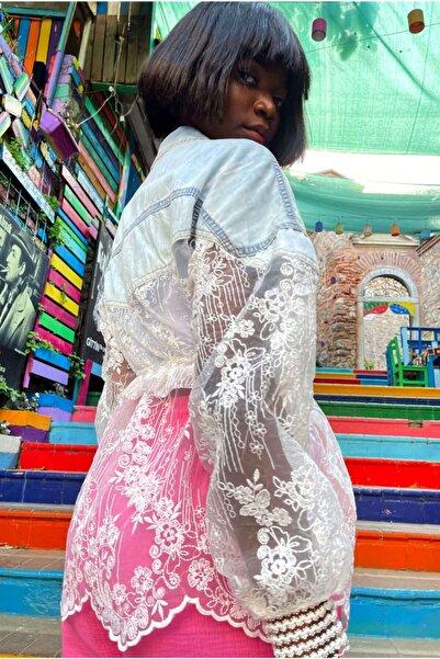 VorNişantaşı Kadın Özel Tasarım Güpür Dantelli Kot Ceket
