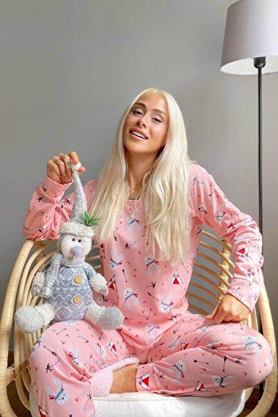 Pijamaevi Pembe Rabbit Arrow Baskılı Uzun Kol Kadın Pijama Takımı