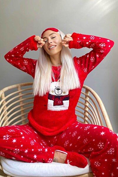 Pijamaevi Bear Winter Desenli Kadın Peluş Pijama Takımı