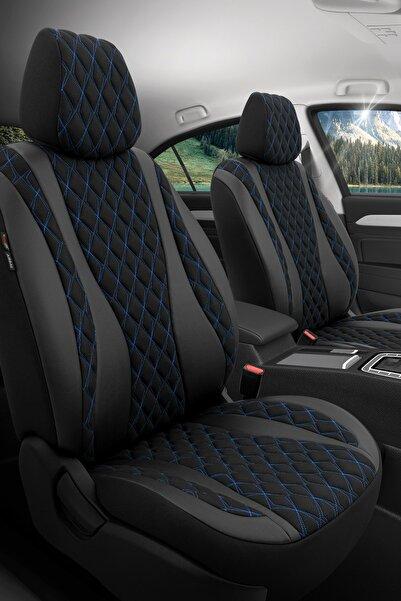 Otom Airbag Dikişli Özel Tasarım Exclusive Oto Koltuk Kılıfı Tam Set - Emperor Design Siyah-Mavi