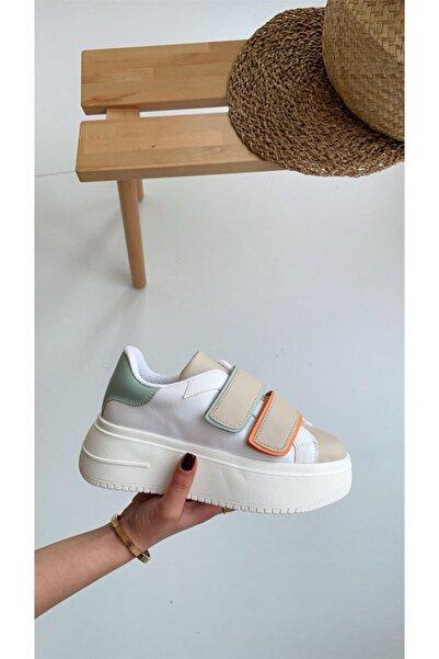 NAVYSIDE Kadın Beyaz Bej Turuncu Mint Yeşil Detaylı Cırt Cırtlı Sneaker-Taban 5 cm- Spor Yürüyüş Ayakkabısı
