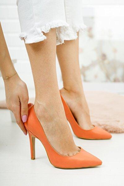 Venüs Tokyo Turuncu Cilt Kadın Topuklu Ayakkabı Stiletto