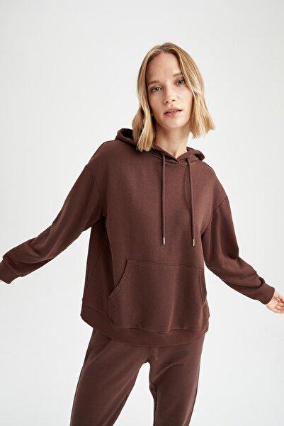 DeFacto Basic Kapüşonlu Relax Fit Içi Yumuşak Tüylü Sweatshirt