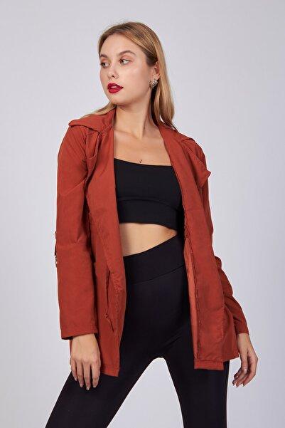 ladyzey Kadın Ceket Yaka Kolları Büzgülü Mevsimlik Trençkot