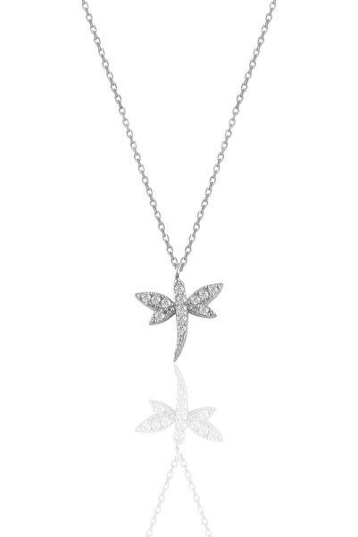 Söğütlü Silver Gümüş Beyaz Altın Rodyumlu Zirkon Taşlı Yusufçuk Kolye